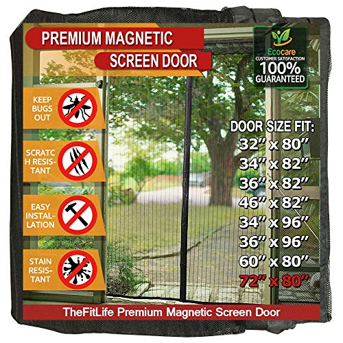 TheFitLife Magnetic Screen Door - Heavy Duty Mesh Curtain with Full Frame Hook and Loop Powerful Magnets that Snap Shut Automatically - Black 74''x81'' - Fits doors up to 72''x80'' Max (Screen Options Patio Door)