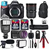 Canon EOS 6D DSLR Camera + Canon EF 24-70mm 2.8L II USM Lens + Battery Grip + Shotgun Microphone + LED Kit + 2yr Extended Warranty + 32GB Class 10 Memory Card + Backpack - International Version