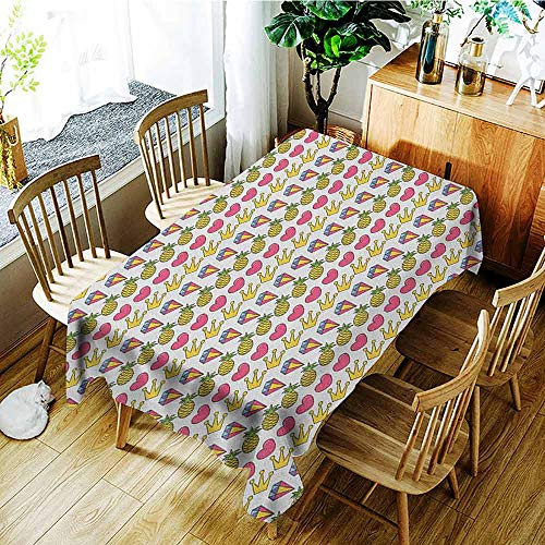 XXANS Washable Tablecloth,Doodle,Heart Crown Gemstone and Pineapple Children Cartoon Design Colorful Illustration,Party Decorations Table Cover Cloth,W60X90L Multicolor
