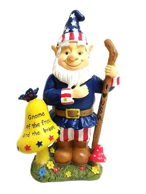 Amazon.com : Patriotic Americana Garden Gnome Statue : American Flag Gnome  : Patio, Lawn U0026 Garden