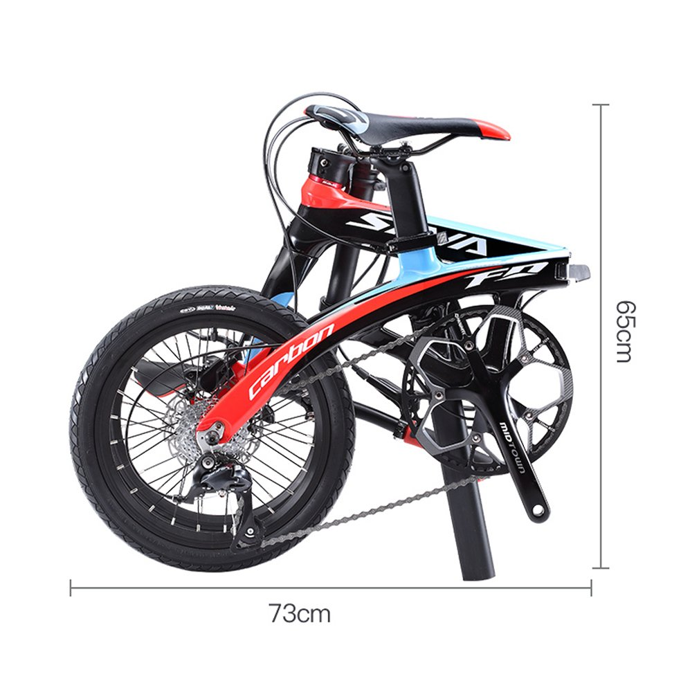 Amazon.com : SAVADECK Folding Bike, 16 inch Carbon Fiber Frame Children Mini City Foldable Bicycle with Shimano SORA 3000 9 Speed Group Set (Black Grey) ...
