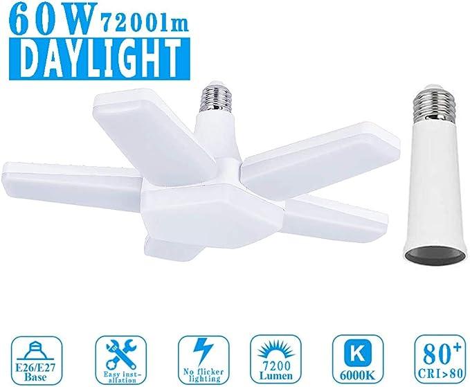 72W E26 6500K 6800Lm Deformable Shop lamp with 5 Adjustable Panels Warehouse LED Ceiling Light for Garage Gym Kitchen Workshop 1 Pack GEZEE LED Garage Light Basement