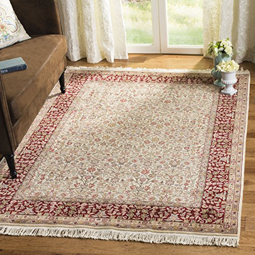 Safavieh Royal Kerman Collection RK13A Hand-Knotted Ivory and Red Wool Area Rug (8' x 10')