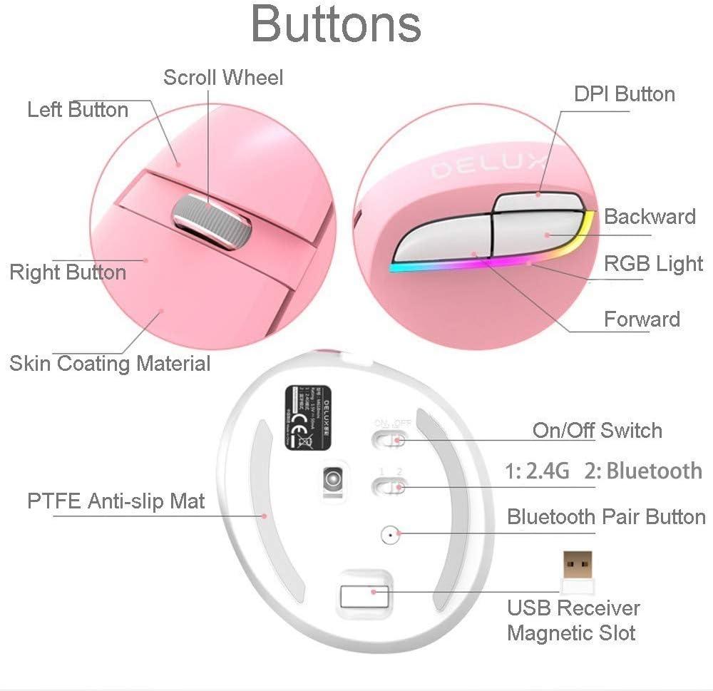 CHUSHENG Mini Wireless Bluetooth Vertical Mouse Dual Mode Interchangeable USB Interface Charging RGB Streamer Intelligent Automatic Sleep 2400DPI,5