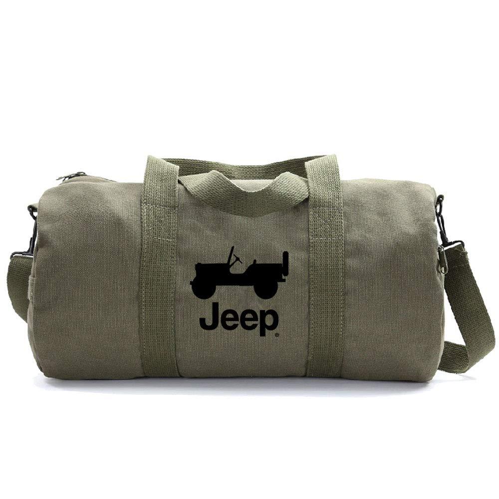 Grab A Smile JEEP CJ Heavyweight Canvas Duffel Bag, Olive & Black (Medium)