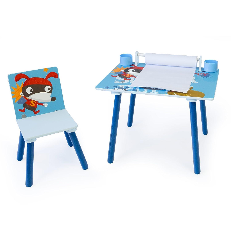 Homestyle4u 1763 Kindersitzgruppe Hund, Kindermöbel Set aus 1 Kindertisch mit 1 Stuhl mit Papierrolle, Holz Blau HOMESTYLE4U_1763