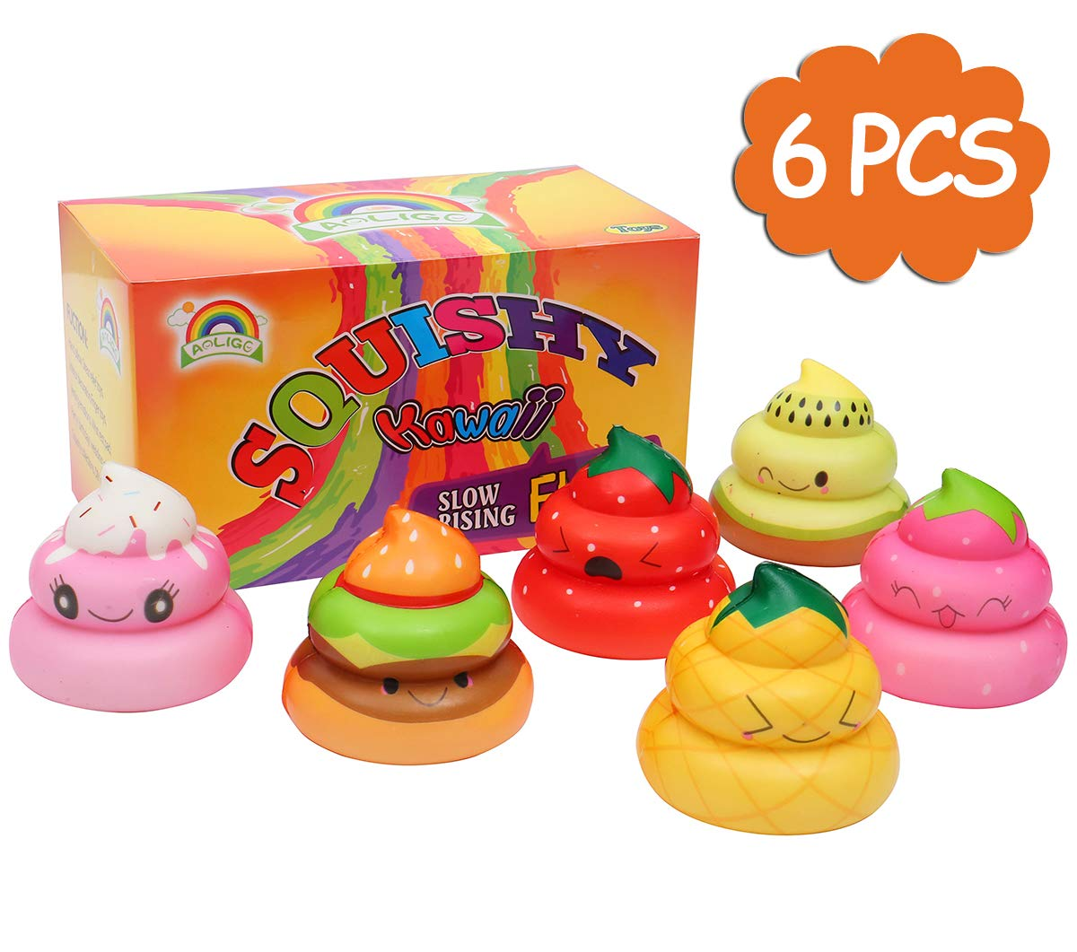 AOLIGE 6PCs Squishies Slow Rising Jumbo Kawaii Cut Poo Creamy Scent for Kids Party Toys Stress Reliever Toy MiaoZhen