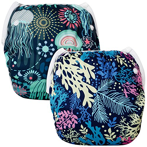 Baby Swim Diapers(Pack of 2), Reusable One Size, Adjustable, Soft, Lightweight, More Comfortable Swimwear, Potty Training Pants, Washable Unisex Fits Babies 0-2 Years for Boys & Girls (SWD0506)