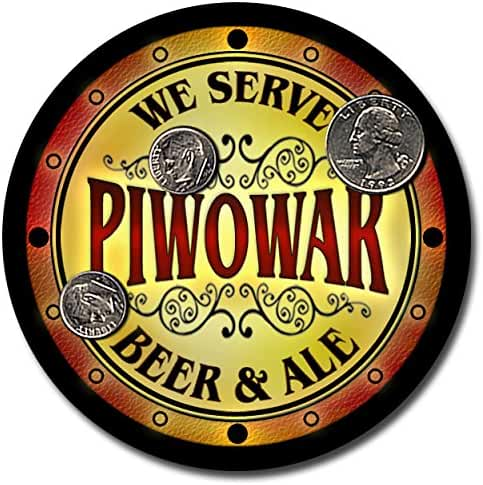 Piwowar Family Name Beer and Ale Rubber Drink Coasters - Set of 4