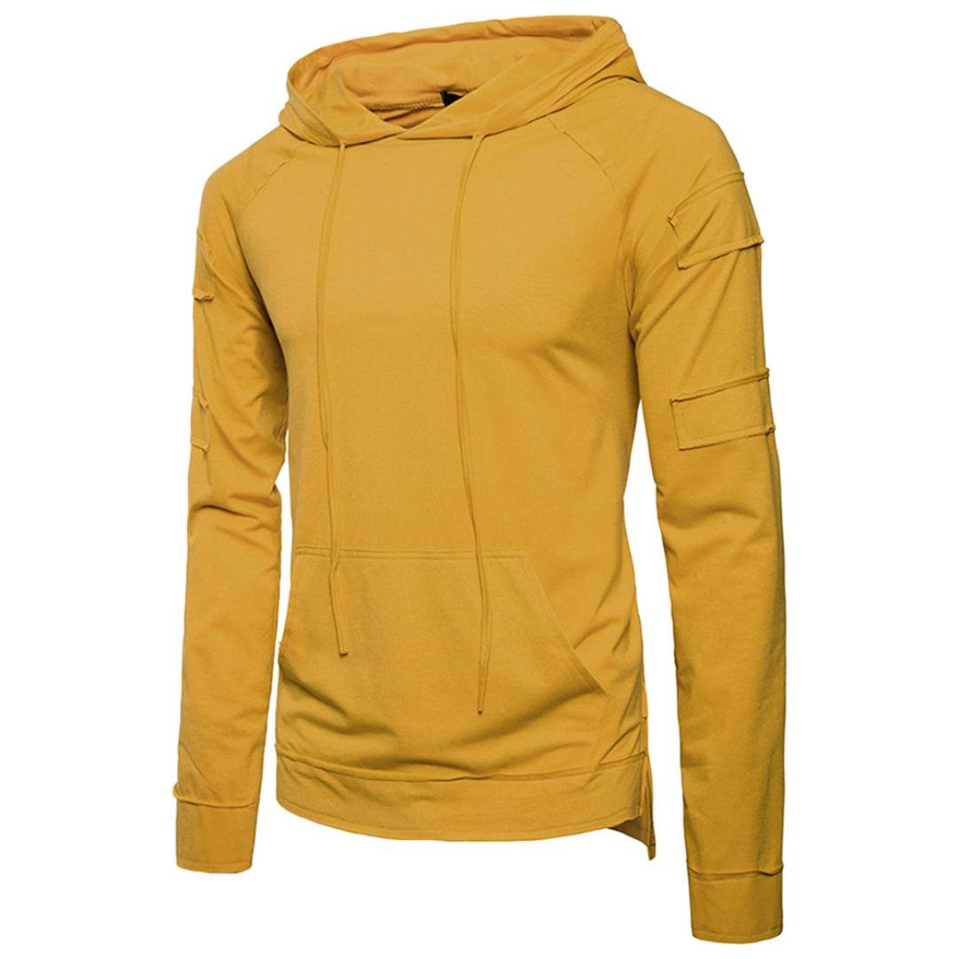 Clearance Sale! Wintialy Fashion Men's Autumn Pure Color Joint Long Hoodie Sleeved Sweatshirts Top Blouse