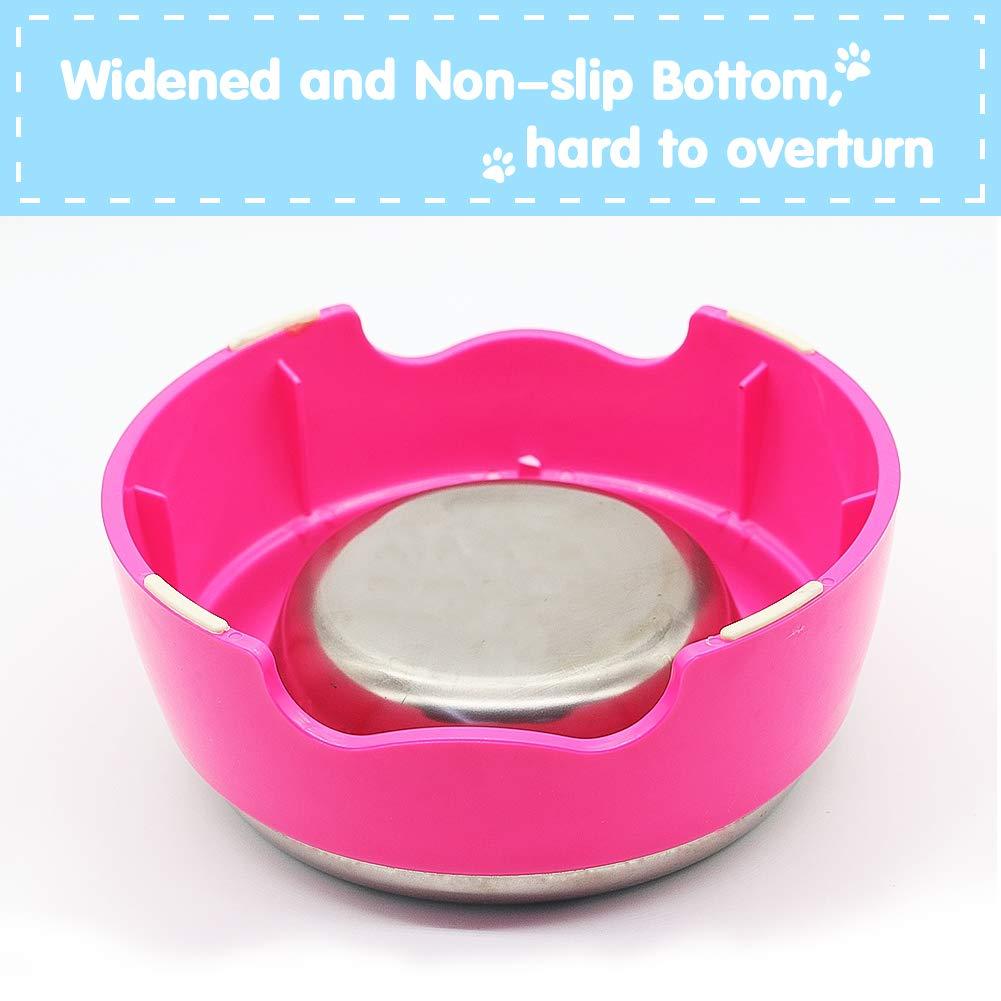 Ciotola per Cani Gatto Set Ciotole Acciaio Inox Antiscivolo Metallo Due Ciotole Cibo Acqua per Animali Domestici Cane, Set di 2 (Rosa e Blu)