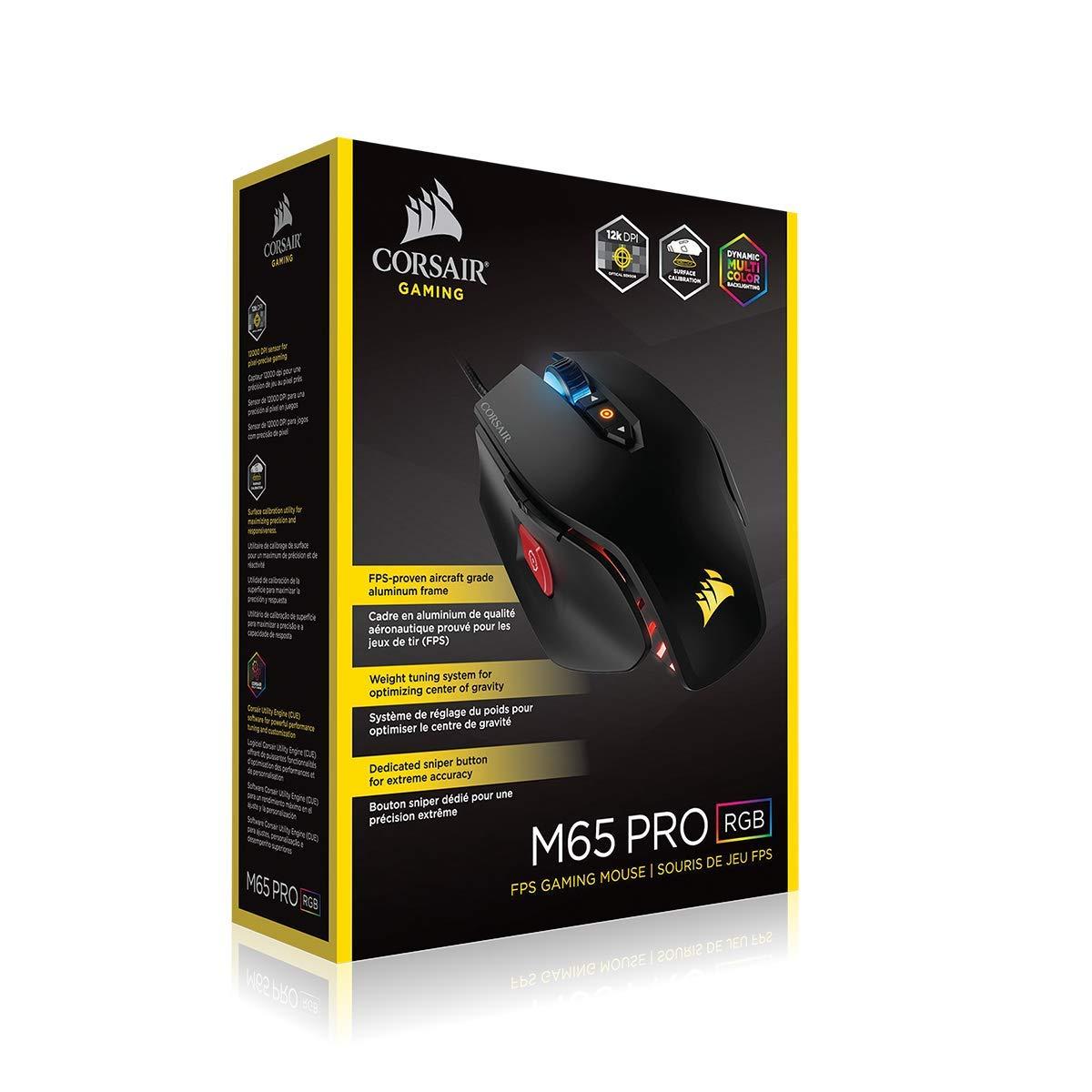 Corsair Gaming M65 Pro RGB FPS Gaming - Ratón (Mano Derecha, Óptico, USB, 12000 dpi, 135,5 g, Negro): Amazon.es: Informática