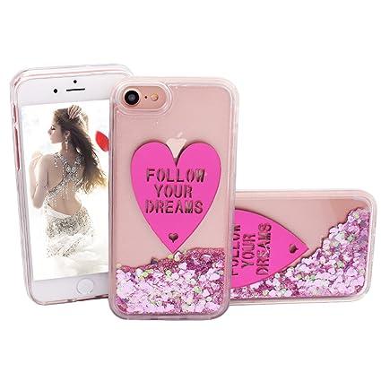 Amazon.com: N. Egret iPhone 7 Cute Liquid Glitter – Carcasa ...