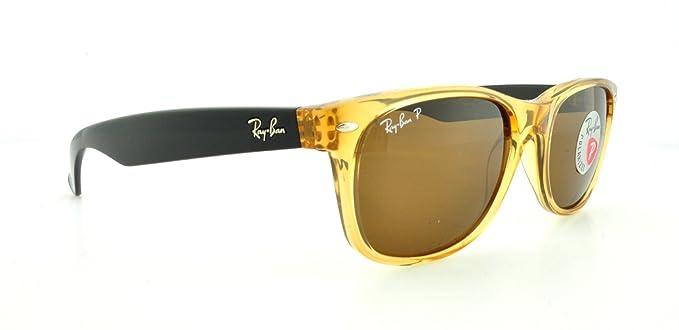 Ray-Ban RB2132 grande New Wayfarer polarizadas gafas de sol miel w/Cristal Marrón
