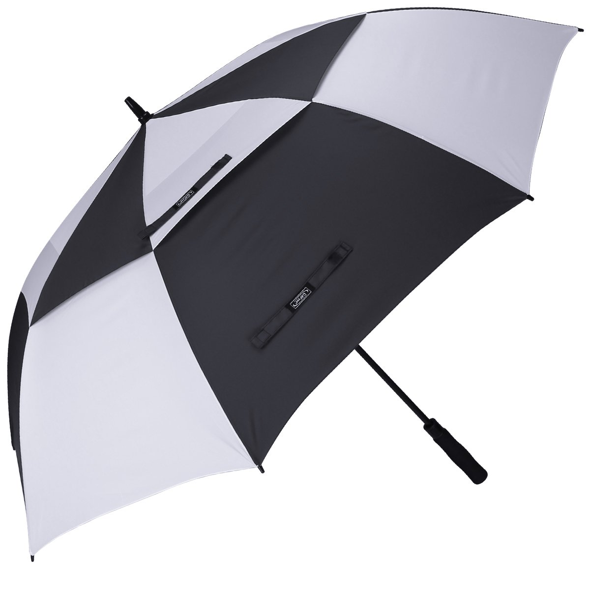 G4Free 62 Inch Automatic Open Golf Umbrella Extra Large Oversize Double Canopy Vented Windproof Waterproof Stick Umbrellas(Black/White)