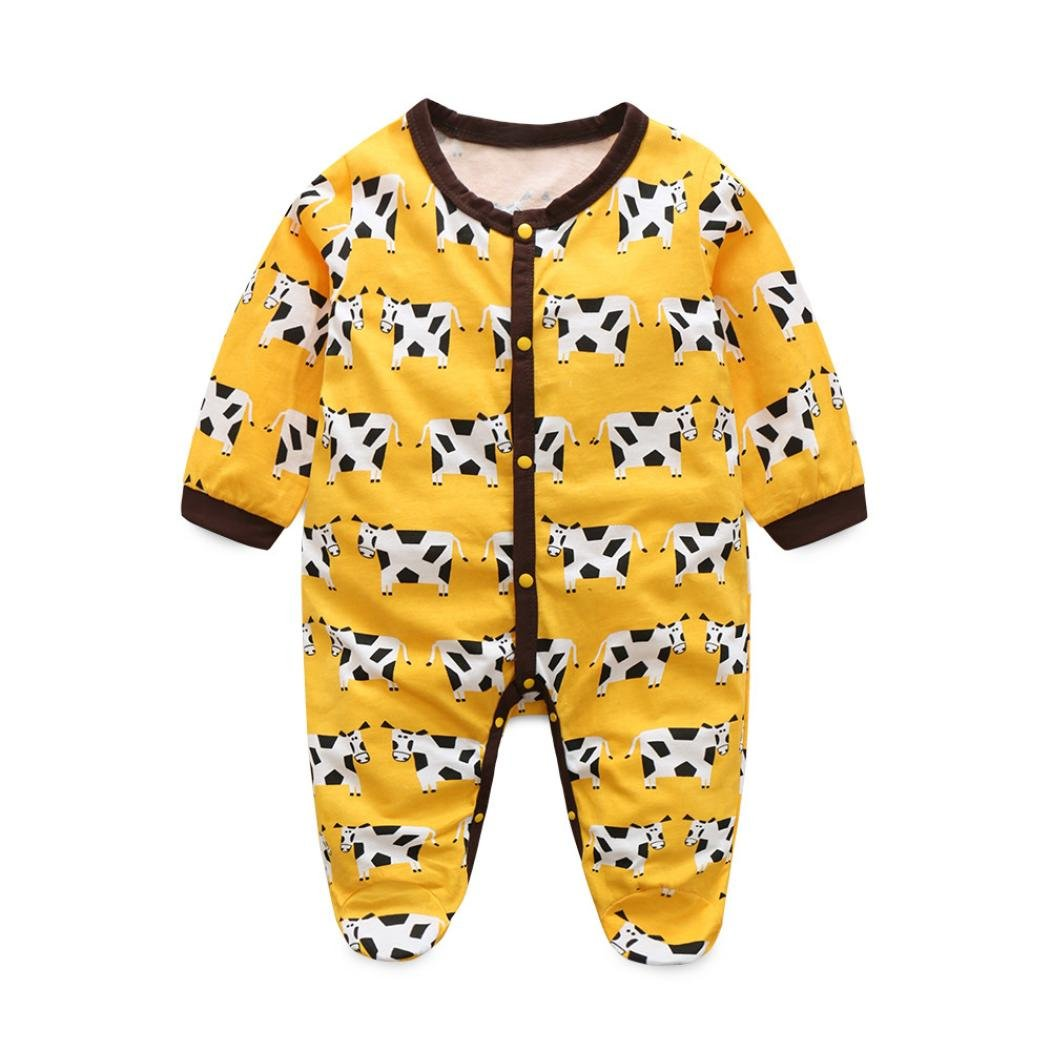 4bed8eb69275 Amazon.com  SMTSMT 2017 Baby Girls Long Sleeve Print Romper Jumpsuit  Outfits (Yellow