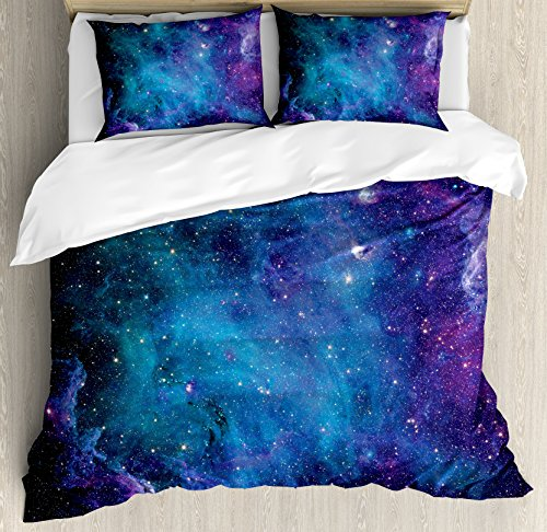 Space Decorations Duvet Cover Set By Ambesonne  Galaxy Stars In Space Celestial Astronomic Planets In The Universe Milky Way Print  3 Piece Bedding Set With Pillow Shams  Queen   Full  Navy Purple