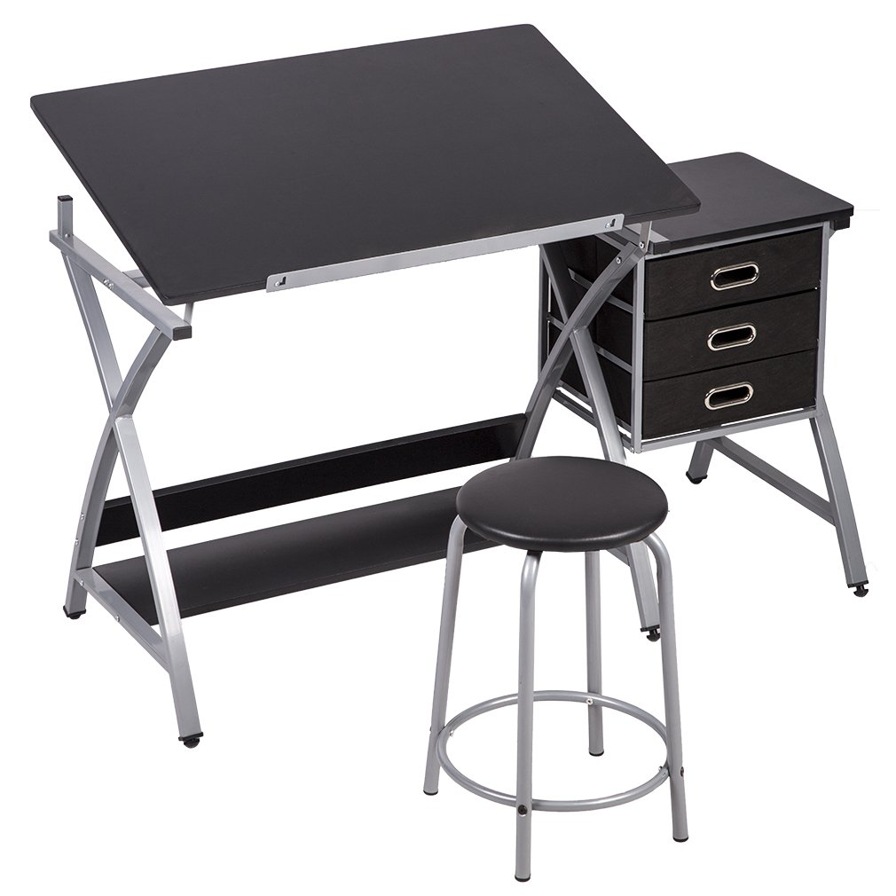 PayLessHere Drafting Table Art & Craft Drawing Desk Art Hobby Folding Adjustable w/Stool