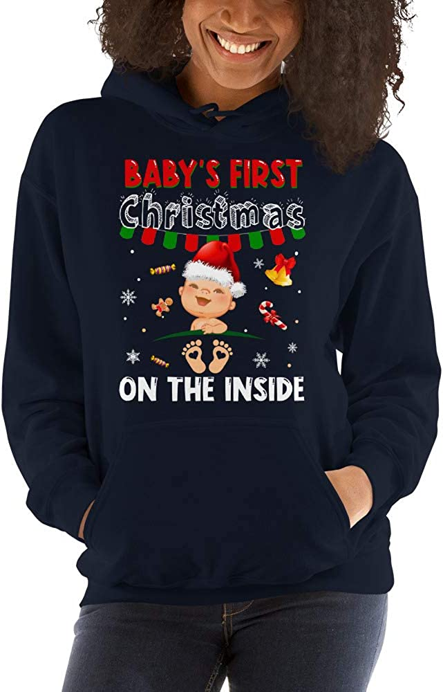 Babys First Christmas On The Inside Pregnant Women Unisex Hoodie