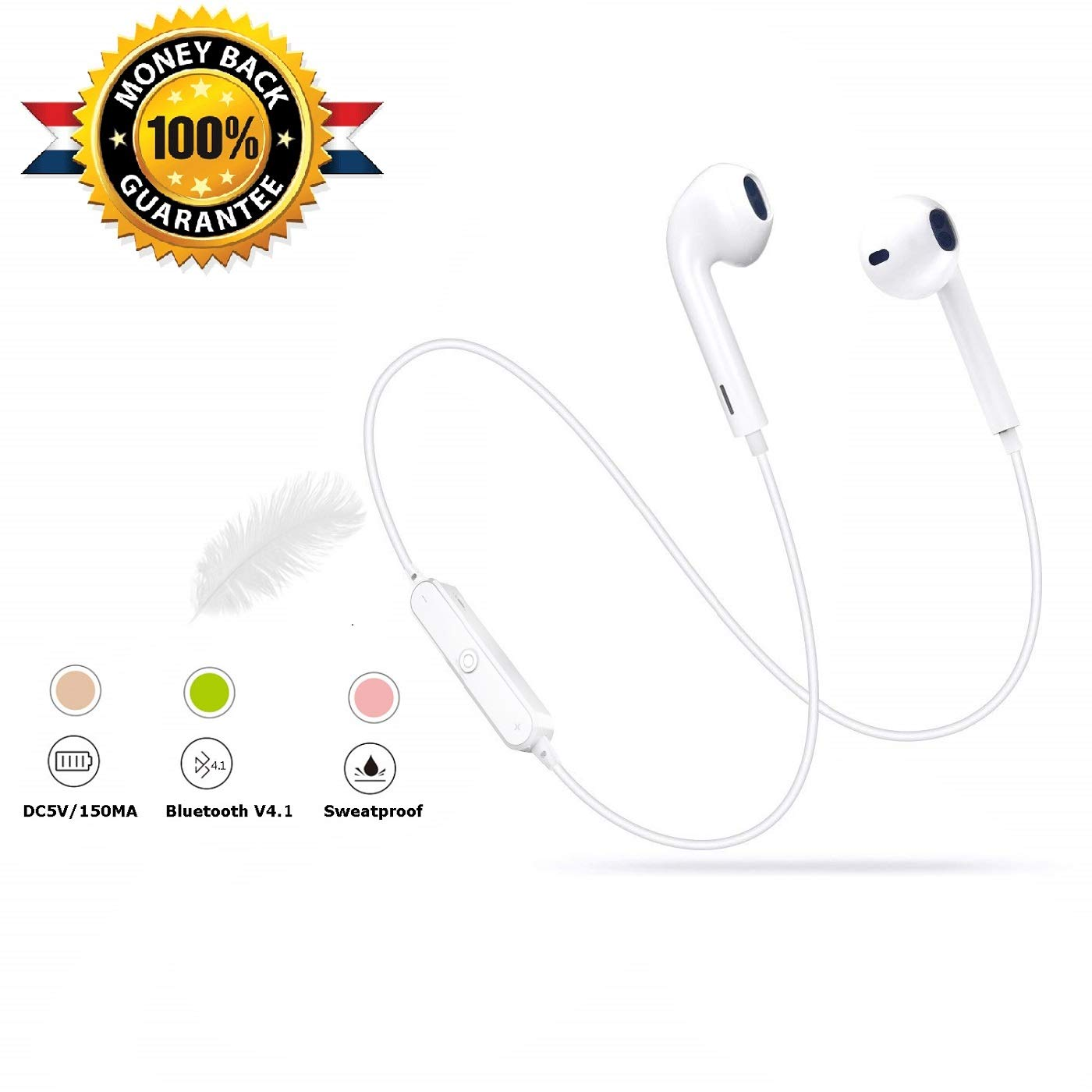 Bluetooth Headphones, Wireless Bluetooth Headphones Best Wireless Sport Earphones with Mic for Sports With Mic, Compatible iPhone XS/XS Max/X/8/7 Samsung Galaxy S9 S8 S7. BTVE