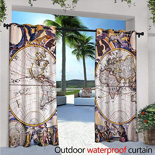 Glimpse Antique Pearl - World Map Exterior/Outside Curtains W96 x L96 Antique Map with Farmers Field Sun Birds Clouds Fantasy Sky in Old Painting Style for Patio Light Block Heat Out Water Proof Drape Multicolor