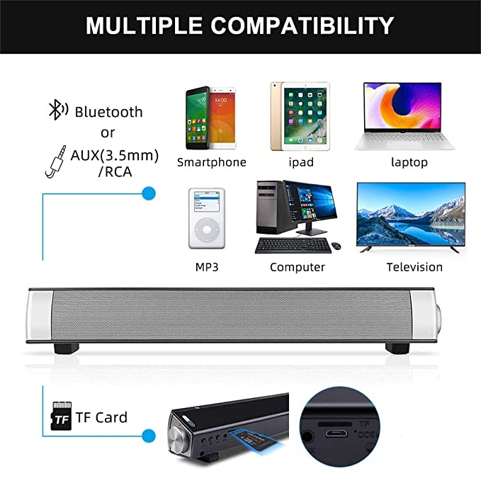 Barra de sonido, Bingxue barra de sonido para TV Bluetooth Altavoces de computadora - Conexión por cable e inalámbrica de 10W, barras sonido soporte Tarjeta TF /AUX/ BT Modos (plata): Amazon.es: Electrónica