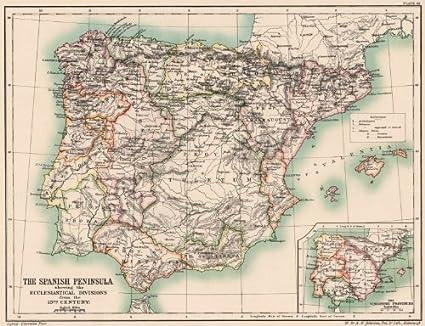 Iberia eclesiásticas: siglo 13 divisiones. Provincias visigoda. España;1902 mapa: Amazon.es: Hogar