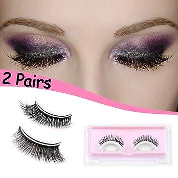 e18a24d4627 2 Pairs False Eyelashes, Vibury Self-Adhesive 3D Reusable Handmade Natural  Look Fake Lashes
