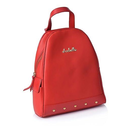 EL CABALLO Mochila de Mujer con Tachuelas Rojo 1027 Outlet - Mochilas y Bandoleras para Mujer: Amazon.es: Zapatos y complementos