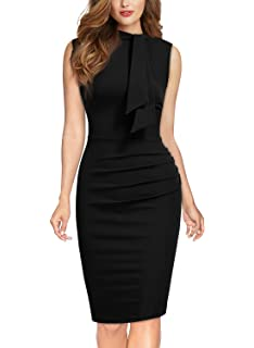 MIUSOL Women's Pencil V Neck Pleated Party Work Dress