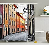 Ambesonne Wanderlust Decor Collection, Streets of Stockholm Old Town Famous Landmark Narrow Pavement European Image Pattern, Polyester Fabric Bathroom Shower Curtain, 84 Inches Extra Long, Orange Gray