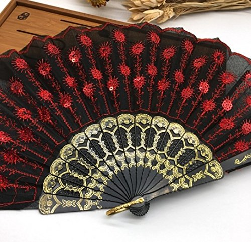 Black Red Multi Colors Sequins Peacock Lace Elegant Hand Fans Dancing Props Dance Fan Party Favors Party Supplies by Hand Fan