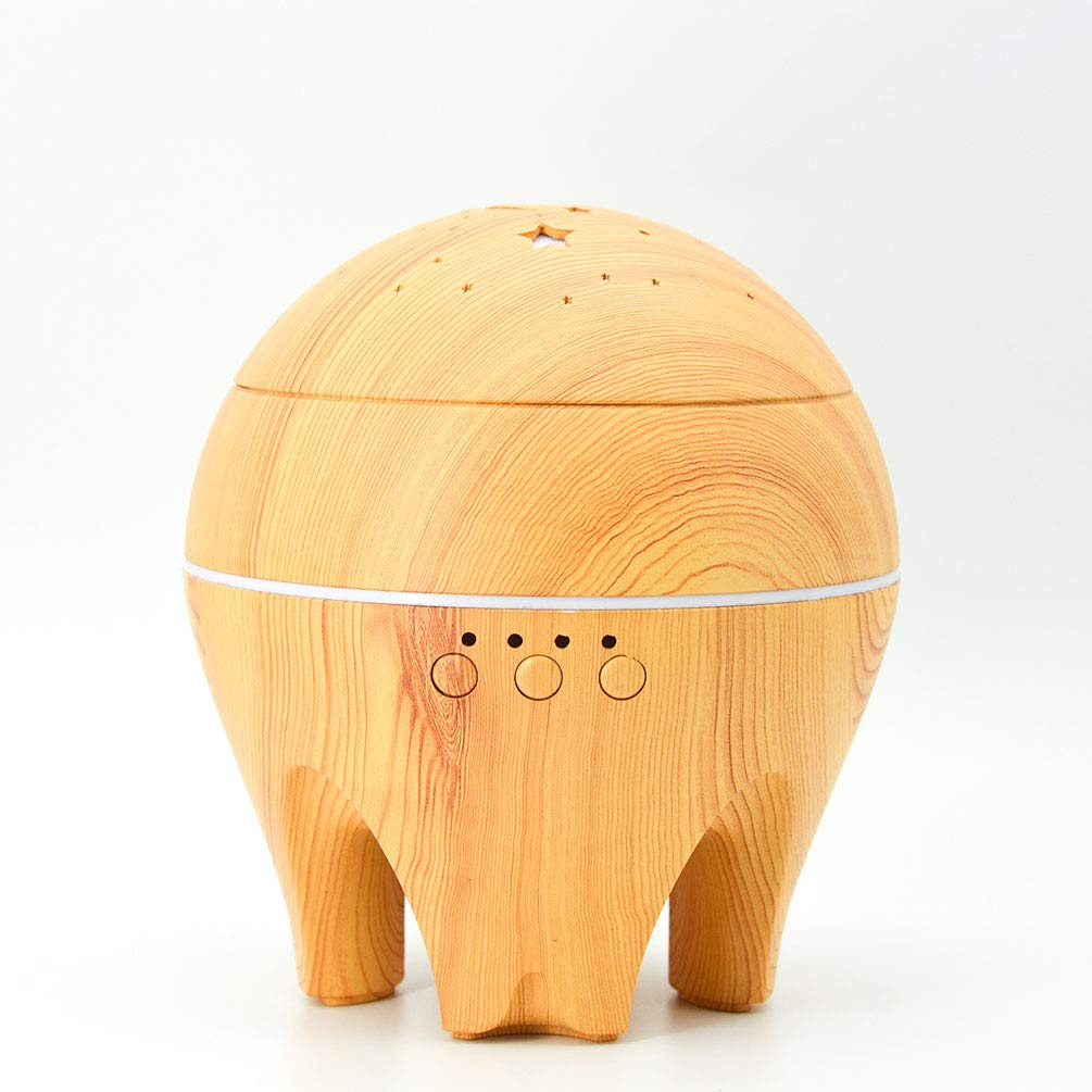 UK BONITOYS Wood Ultrasonic Cold Mist Humidifier Aromatherapy Essential Oil Diffuser with Adjustable Fogging and 7 LED Color Lights (Yellow) by UK BONITOYS (Image #2)