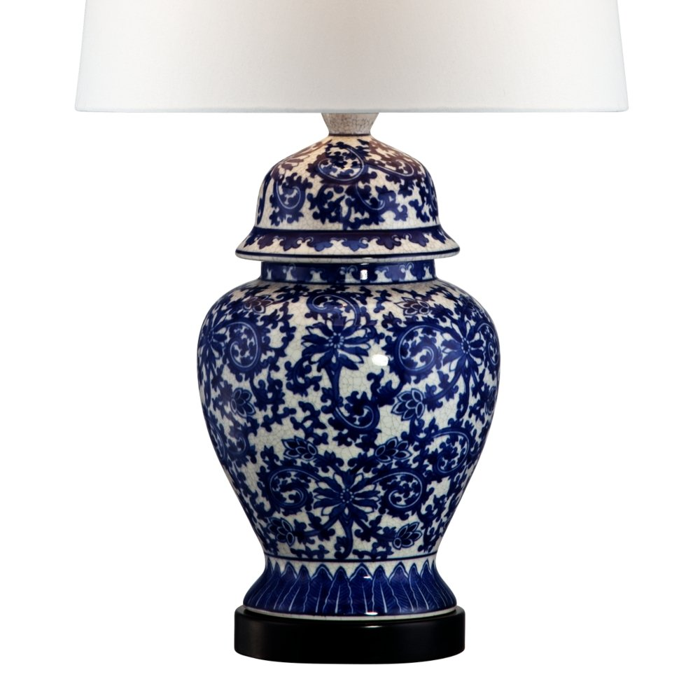 blue and white porcelain temple jar table lamp amazon com