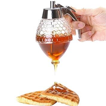 Dispensador de miel de acrílico de 200 ml. Botella de goteo, con jarra con soporte: Amazon.es: Hogar