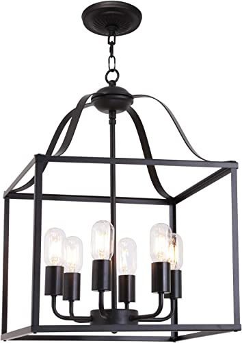 MELUCEE 6 Lights Farmhouse Chandelier Bird Cage 16-Inch Black Finish Light Fixtures Ceiling Hanging Industrial Pendant Lighting for Kitchen Island Foyer Entryway Porch