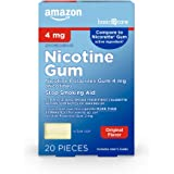 Amazon Basic Care Nicotine Polacrilex Uncoated Gum 4 mg (nicotine), Original Flavor, Stop Smoking Aid; quit smoking with nico
