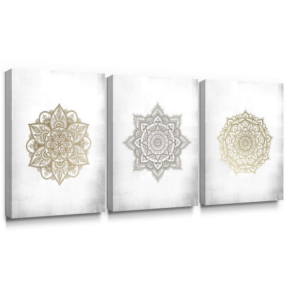 SUMGAR Boho Wall Art Bathroom Gold Mandala Framed Paintings 3 Piece Grey Flowers Pictures Gray Floral Canvas Prints Bedroom Indian Artwork Yoga Spa Bohemian Home Decorations Geometric Decor,12x16 in