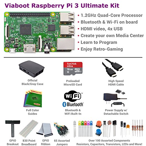 Viaboot Raspberry Pi 3 Ultimate Kit — Official Micro SD Card, Official Black/Gray Case Edition by Viaboot (Image #1)