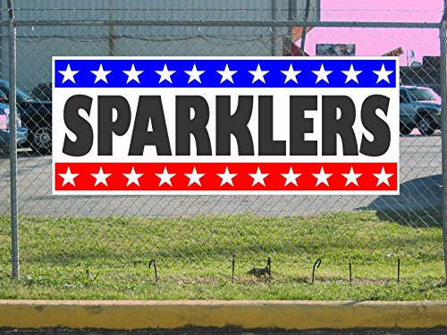 SPARKLERS Fireworks Banner Sign Stars & Stripes