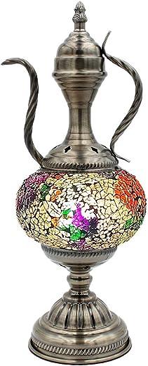 SILVERFEVER Mosaic Turkish Teapot Lamp Moroccan Gla