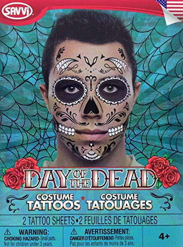 Man E Faces Costume (Day Of The Dead Sugar Skull Face Tattoo Kit For Men Or Women)