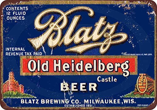 Blatz Old Heidelberg Beer Vintage Look Reproduction Metal Sign 8 x 12