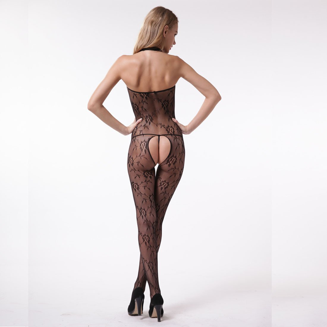 bf14c74d8 Reignet Women s Sexy Open Crotch Mesh Fishnet Lace Bodystocking Babydoll  Lingerie Set
