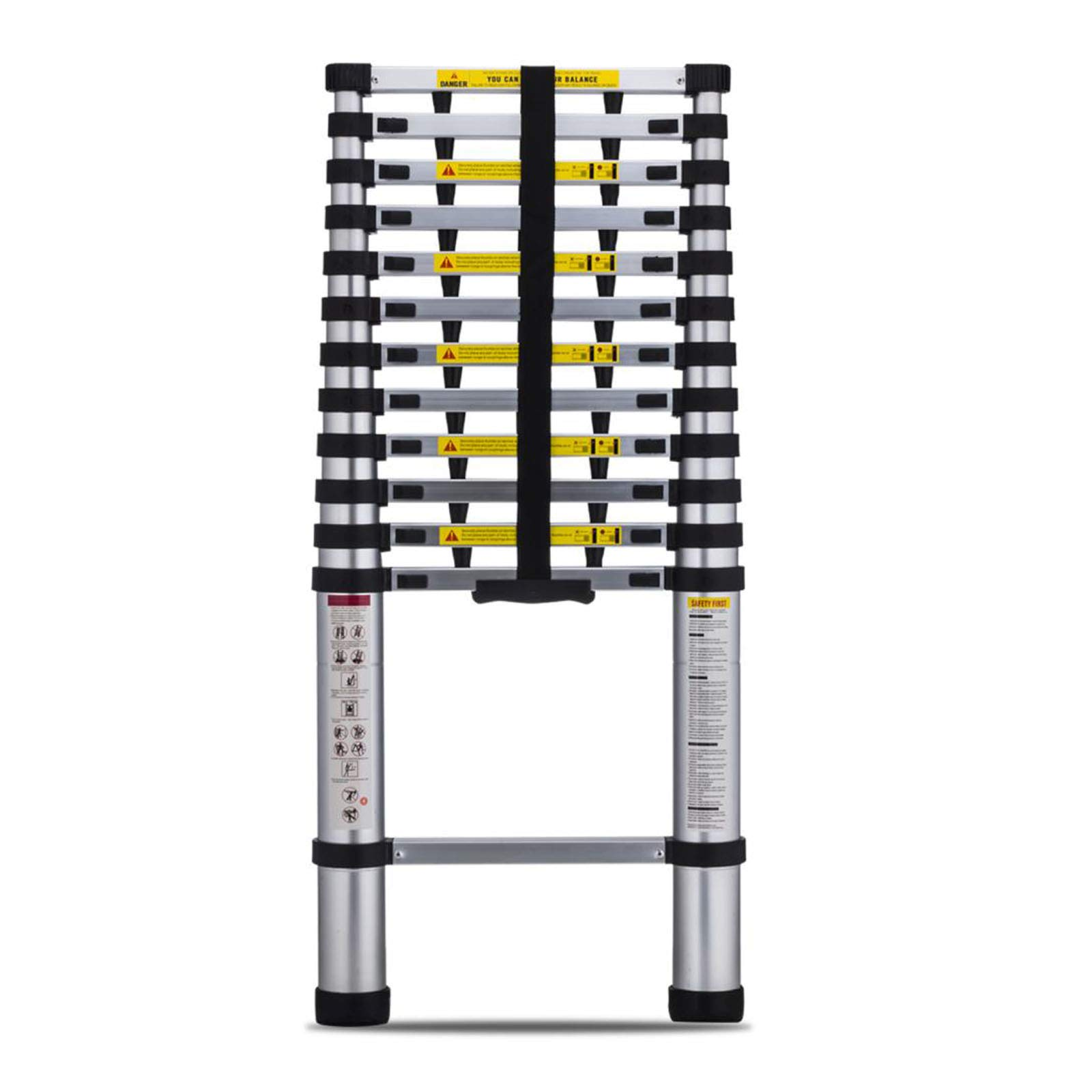 Superworth 12.5FT Aluminum Telescopic Extension Ladder, EN131 Certified, Professional Heavy-Duty Foldable Telescopic Extendable Step Ladder 330LBS Capacity