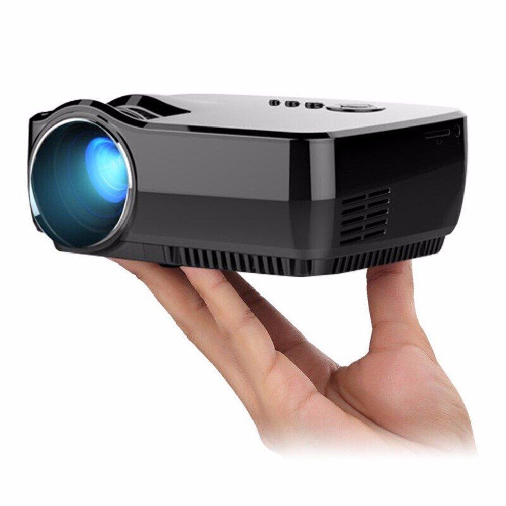 マイクロLEDプロジェクター無料HDMI&VGAケーブルLCD 1800ルーメン800X480プライベートシネマゲームビデオテレビプロジェクション100インチスクリーン [並行輸入品] B072SPSMBT