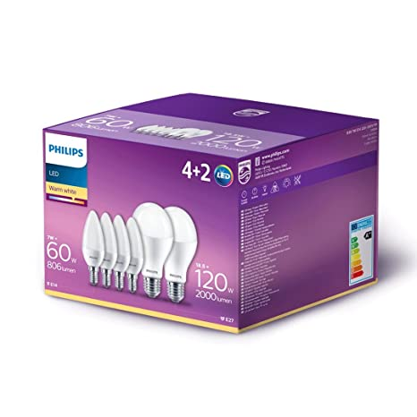 Philips BOX compuesto de 4 bombillas LED Oliva E14, 60 W + 2 bombillas LED