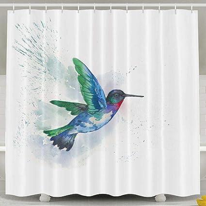 Yisliferunaz Art Colorful Hummingbird Shower Curtain Waterproof Polyester Fabric Bath Decor Bathroom Sets 60X72inchWater