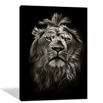 Amazon com global artwork printed posters and prints black white animal lion picture wall art on canvas for living room home decor stretched ready to hang