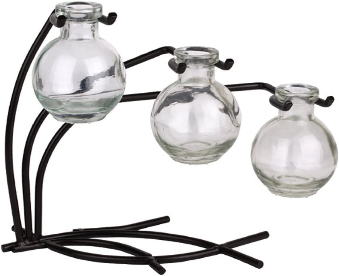 Romantic Decor and More Vintage Glass Ball Floral, Bud or Rooting 3 Vase Set with Stand – G111F Clear Vase Use as Flower, Bud, Plant Starter Vase.